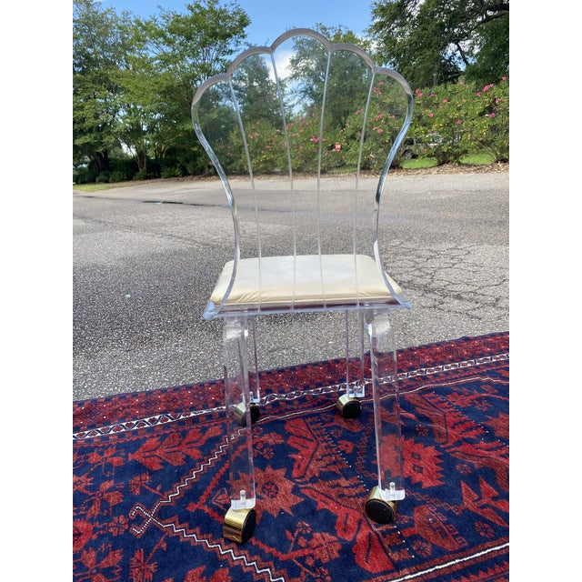 Vinyl Vintage Lucite Fan Shell Back Chair by Hill Mfg For Sale - Image 7 of 10