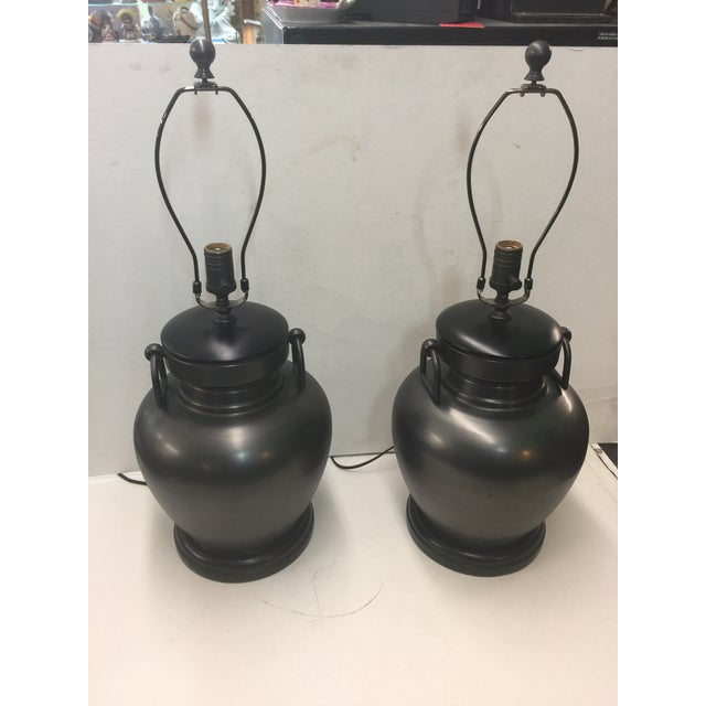 Metal Pair of Pottery Barn Urn Form Bronze Finish Lamps For Sale - Image 7 of 7