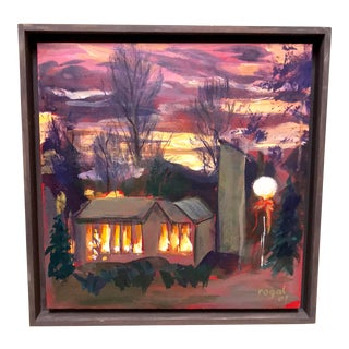 Adirondack Oil on Board Painting of Cabin For Sale