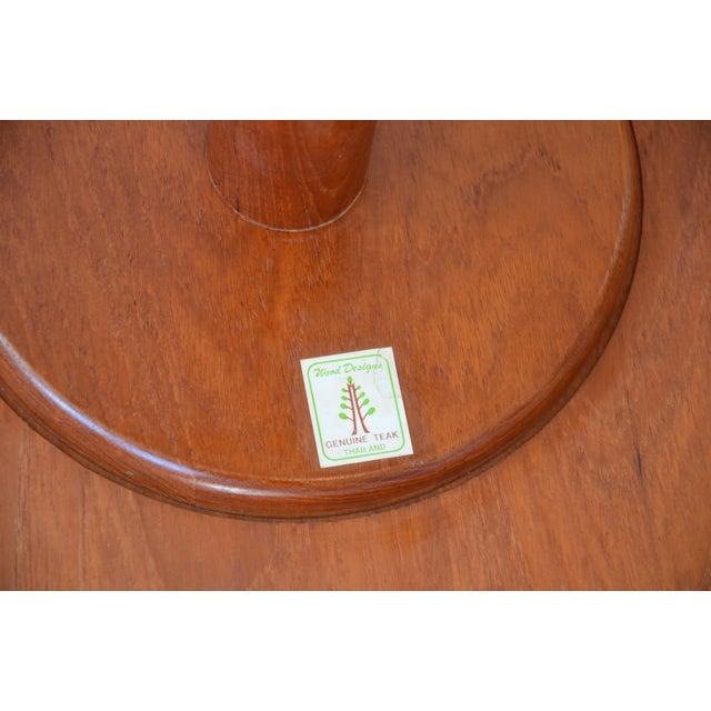 1970s Mid-Century Modern Teak Pedestal Side Table For Sale - Image 10 of 11