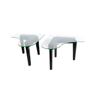 1970s Mid-Century Modern Glass Top Side Tables - a Pair For Sale