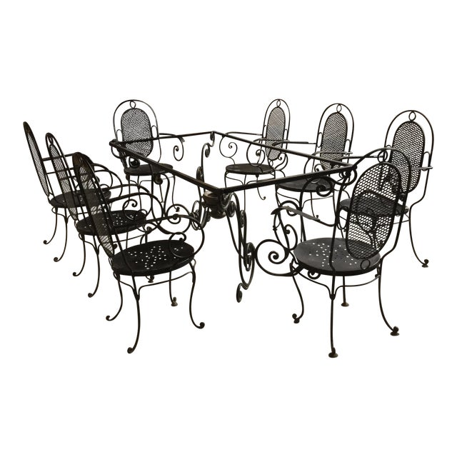 1900s Art Nouveau Indoor and Outdoor Iron Dining Set - 9 Pieces For Sale - Image 11 of 11