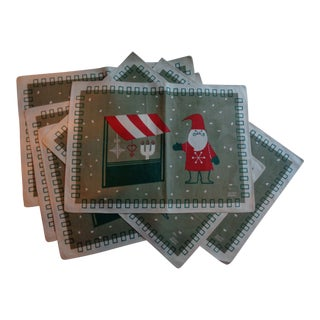 Vintage 1960s Swedish Linen Holiday Christmas Placemats by Jerry Roupe - Set of 6 For Sale