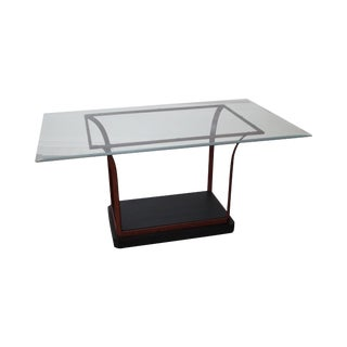 Design Institute of America Iron Base Glass Top Dining Table For Sale