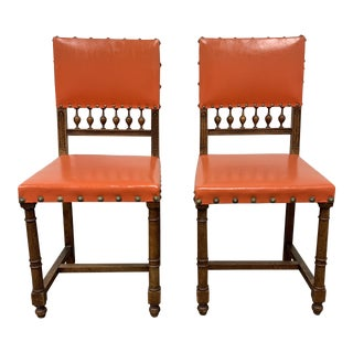 Mid-20th Century Orange Mission Side Chairs - a Pair For Sale