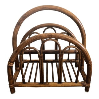 Vintage Mid Century Bentwood Rattan Magazine Rack For Sale