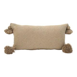 Camel Cotton Pom Pom Pillow For Sale