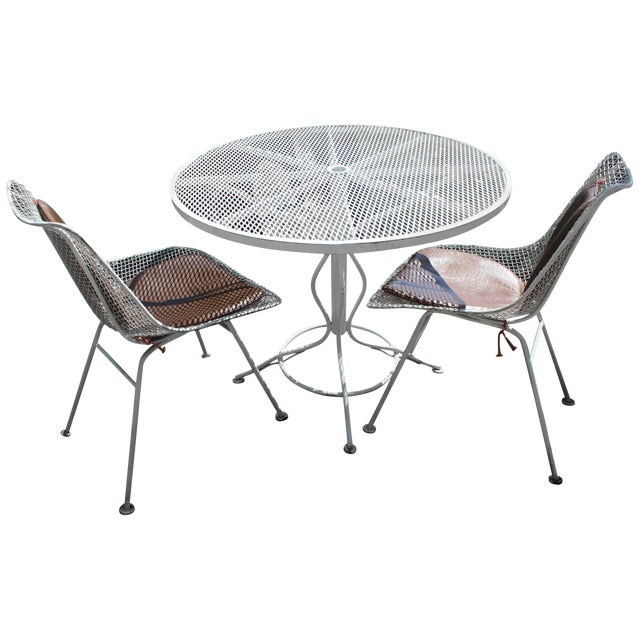 Mid-Century Modern Woodard Sculptura Patio Table Set Two Chairs White Iron For Sale