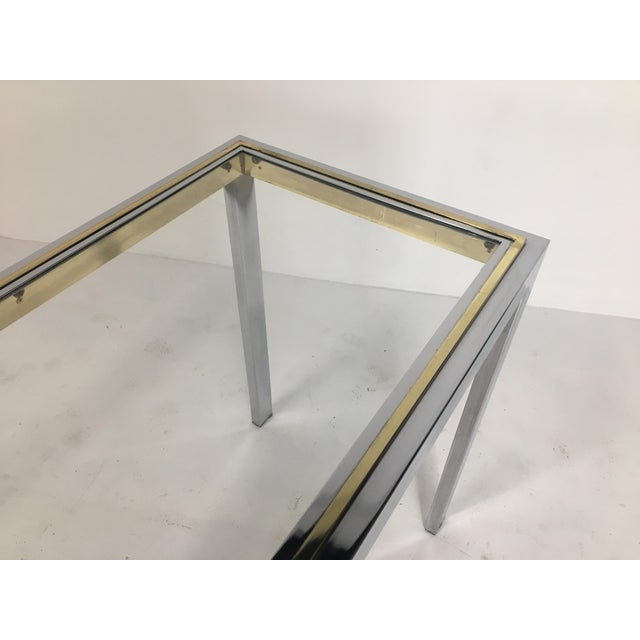 Late 20th Century 20th Century Minimalist Chrome and Glass Parsons Console Table With Brass Accents For Sale - Image 5 of 13
