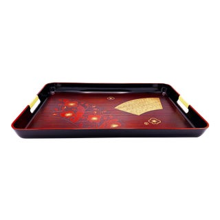 Large Vintage Hand Made Hollywood Regency Floral Lacquered Cocktail Tray With Handles, Japan For Sale
