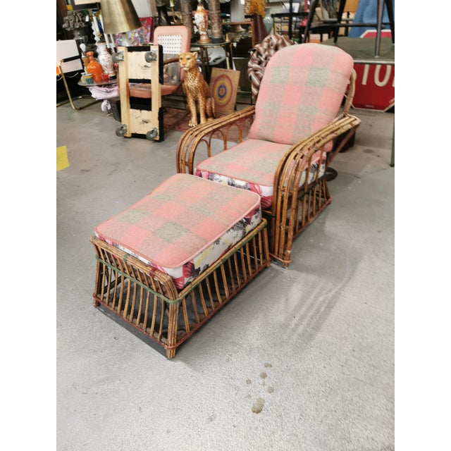 Wood Art Deco Reeded Rattan Lounge Chair and Ottoman For Sale - Image 7 of 13