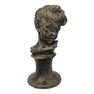 1930s Vintage Bruno Merli Signed Child Bust Sculpture For Sale
