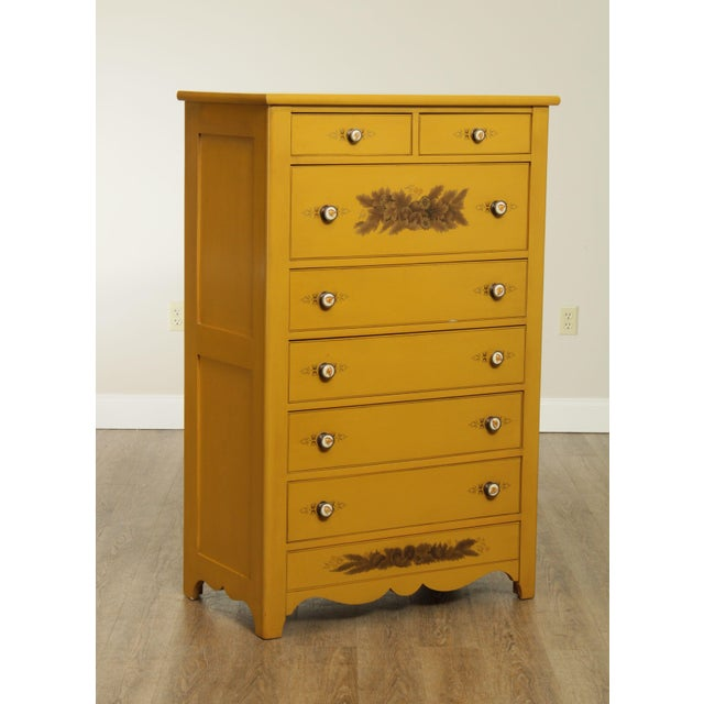 Traditional Hitchcock Vintage Yellow Painted Tall Chest of Drawers For Sale - Image 3 of 13