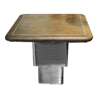 Modern Convertible Shagreen & Chrome Coffee or Dining Table For Sale