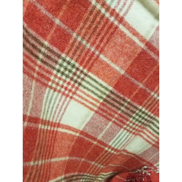 Wool Throw Reds Black White Plaid - Made in England For Sale In Dallas - Image 6 of 8