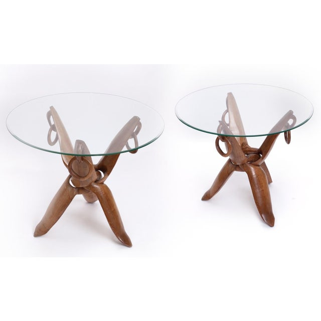 Vintage Mid-Century French Carved Side Tables - A Pair For Sale In New York - Image 6 of 6