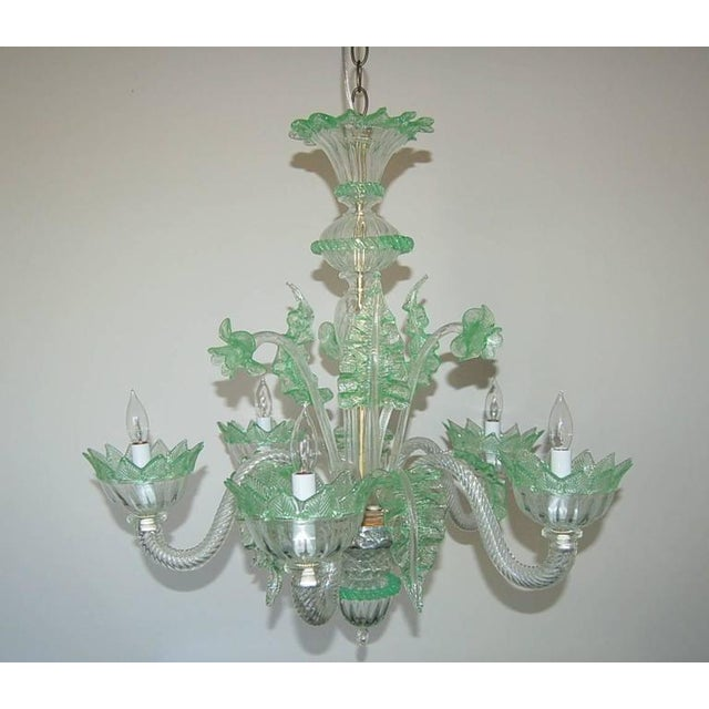 Very chic vintage Venetian five-light Murano glass chandelier made of Murano CLEAR with GREEN glass accents. Newly rewired...