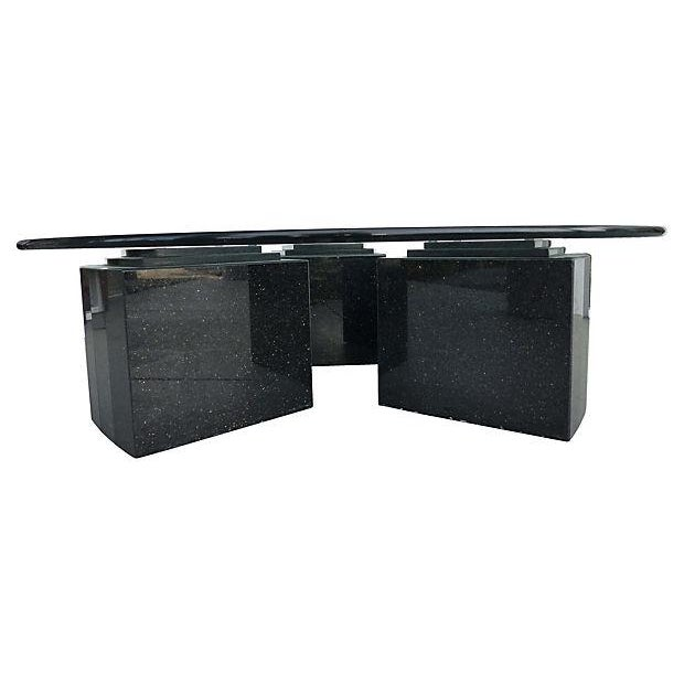 Art Deco Vintage 80s Glass Coffee Table with Granite Bases For Sale - Image 3 of 7