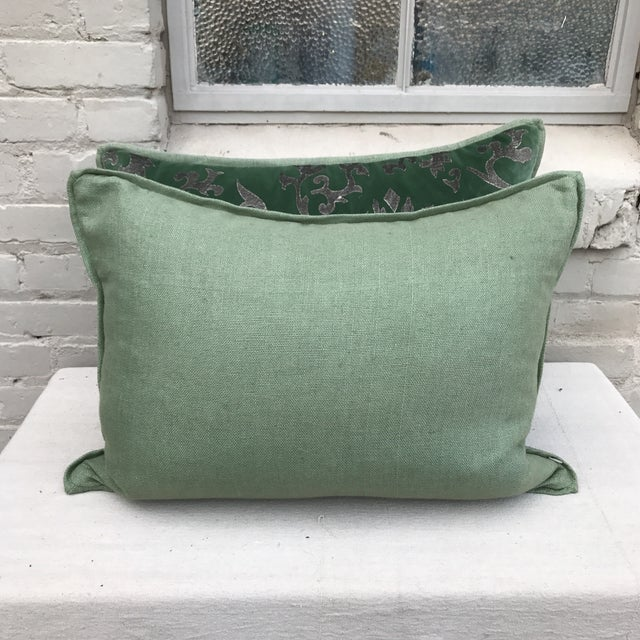 Silver Stenciled Green Velvet Pillows - A Pair - Image 7 of 7