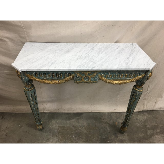French 19th C French Marble Top Painted Console Table For Sale - Image 3 of 10