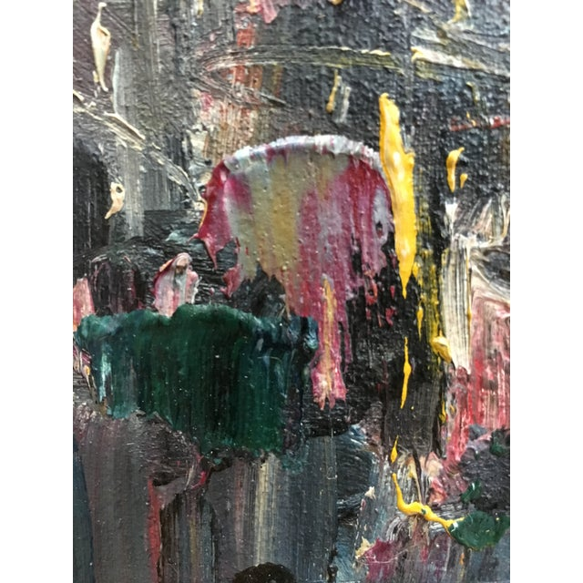 Abstract Vintage Mid Century Modern Abstract Expressionist Oil Painting For Sale - Image 3 of 11