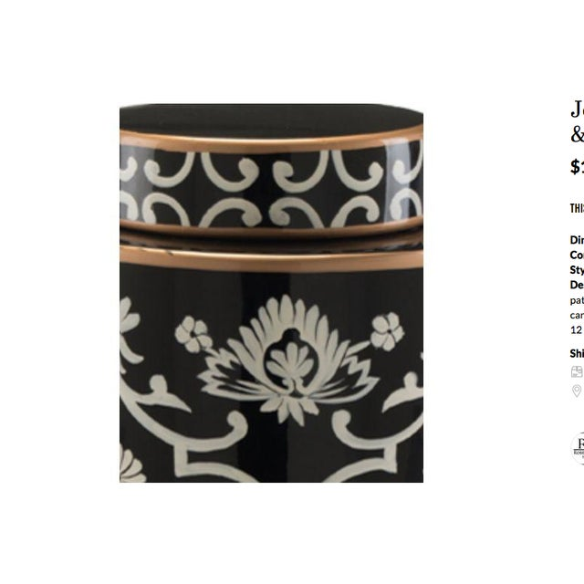 John Richard Floral Black & White Jar - Image 3 of 4