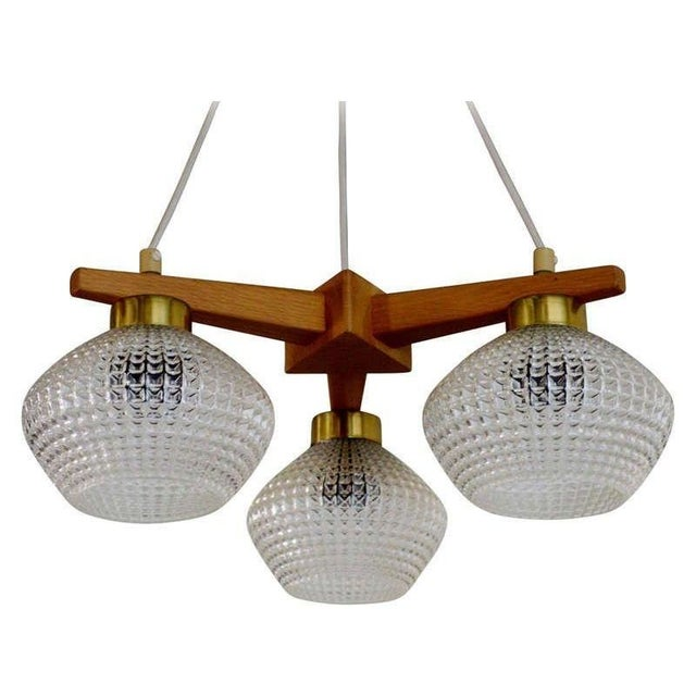 Brown Mid-Century Teak Brass & Glass 3 Arm Chandelier For Sale - Image 8 of 8