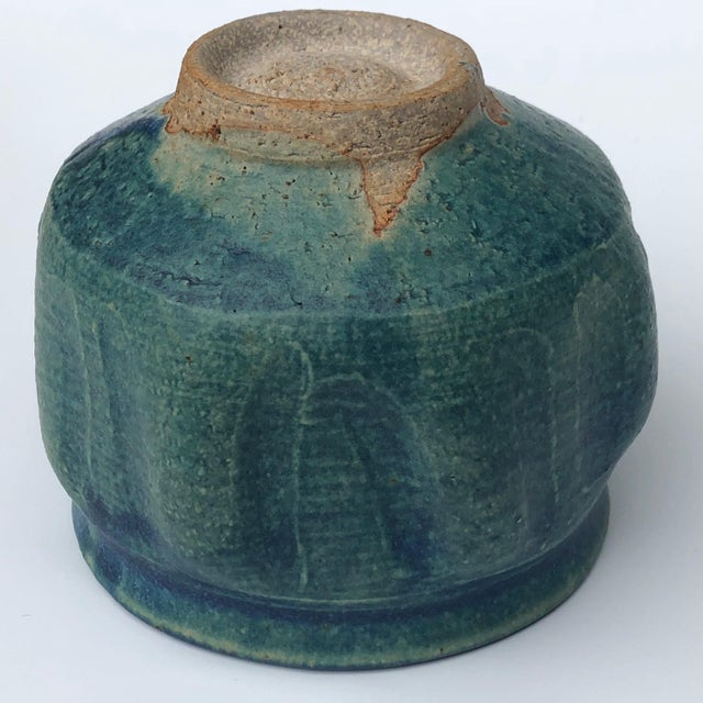Mid-Century Blue Green Glazed Studio Pottery Bowl / Planter For Sale - Image 12 of 13