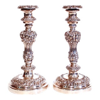 Pair of English Silver on Copper Antique Sheffield Candlesticks, 19th Century For Sale