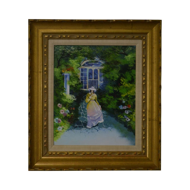 Parthesius Enamel on Copper Southern Belle Framed Painting For Sale - Image 11 of 11