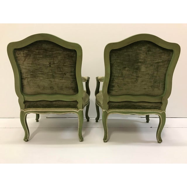 Vintage Louis XV Revival Green Velvet Bergere Chairs Cabriole Leg Scroll Foot Painted Mahogany Country French - a Pair For Sale - Image 6 of 8