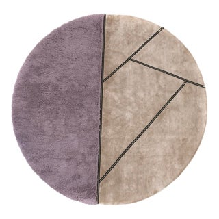 Zipper 5' Round Rug - Purple/Taupe For Sale