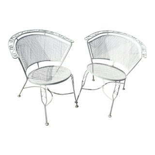 Vintage Salterini Style White Metal Patio Chairs - A Pair For Sale