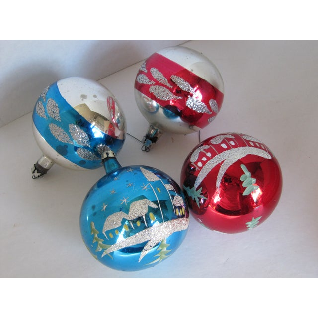 vintage glass christmas ornaments set of 4 for sale image 9 of 10