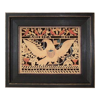 America's Eagle Reproduction Scherenschnitte Paper Cutting in Black Frame For Sale