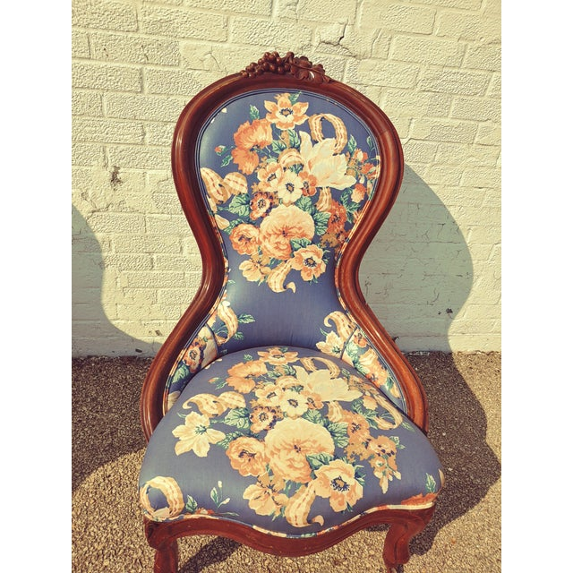 Antique Slipper Chairs & Ottoman, 3 Pieces For Sale - Image 4 of 10