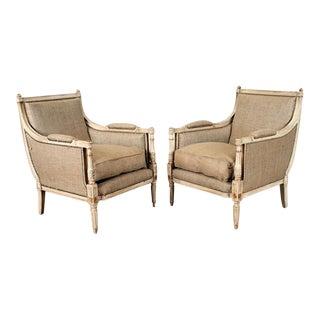 Antique Gilt Bergère Chairs - A Pair For Sale