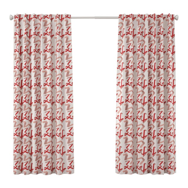 """96"""" Blackout Curtain in Pink & Red Ribbon by Angela Chrusciaki Blehm for Chairish For Sale"""