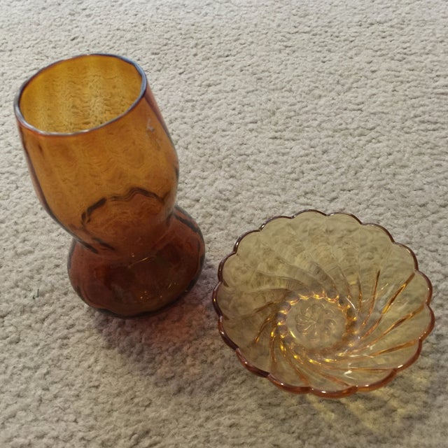 Amber Vase & Candy Dish - Image 2 of 7