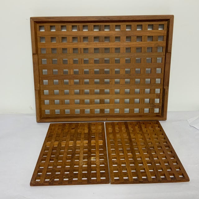Wood 1960s Mid Century Dansk Teak Trivets and Tray For Sale - Image 7 of 7