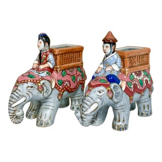Pair of Chinoiserie Elephants Figurines by Andrea Sedak For Sale