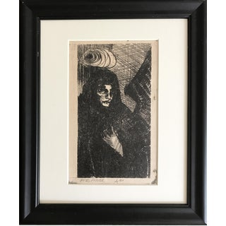 Vintage Expressionist Lithograph of an Angel in Black by James Angier For Sale