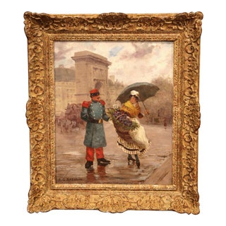 Unknown 19th Century French Oil on Canvas Painting in Gilt Wood Frame Signed Recolin