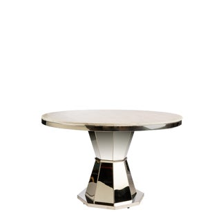Chrome & White Lolin Marble Top Entry Way / Dining Table