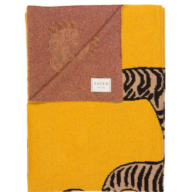 """Contemporary Tiger Cashmere Blanket, Mustard, 51"""" x 71"""" For Sale - Image 3 of 4"""