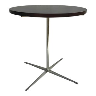 Vintage Bernhardt Design Facet Pedestal End Side Table Chrome Dark Wood Top For Sale