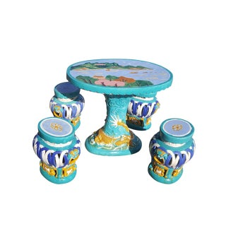 Chinese Ceramic Majolica Table Set - Garden and Patio Table and Stools For Sale