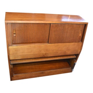 1952 Mid Century Cherry Twin Bookcase Headboard For Sale