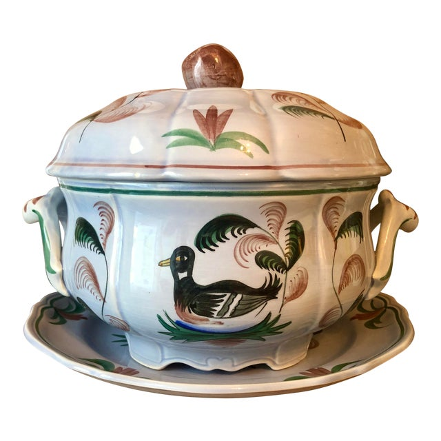 """Mid 20th Century Longchamp """"Blue Duck"""" French Faience Majolica Soup Tureen For Sale"""