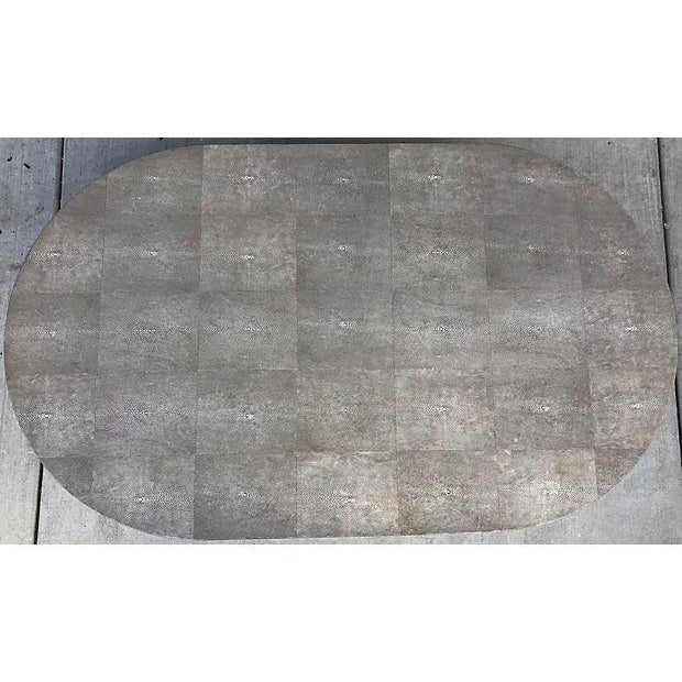 Gray Shagreen Coffee Table / Cone Shape Legs For Sale - Image 4 of 8